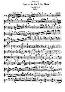 Quartet No.6 in B Flat Major: Violin I part by Ludwig van Beethoven