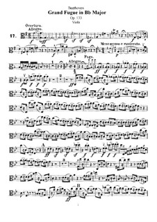 Grand Fugue in B Flat Major for String Quartet, Op.133: Viola part by Ludwig van Beethoven