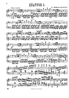Quartet No.6 in B Flat Major: Version for piano by Ludwig van Beethoven