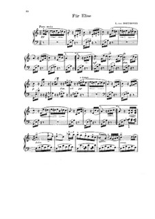 For Elise, for Piano, WoO 59: For a single performer by Ludwig van Beethoven