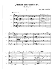 Quartet No.1 in F Major: Full score and parts by Ludwig van Beethoven