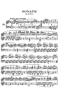 Sonata for Piano No.20, Op.49 No.2: For a single performer (with fingering) by Ludwig van Beethoven