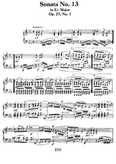 Sonata for Piano No.13, Op.27 No.1: For a single performer by Ludwig van Beethoven