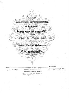 Complete Symphony: Version for violin, flute, cello and piano – parts by Ludwig van Beethoven