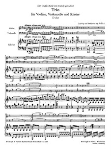 Trio for Violin, Cello and Piano No.5 'Ghost', Op.70 No.1: Full score and parts by Ludwig van Beethoven