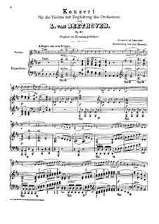 Concerto for Violin and Orchestra in D Major, Op.61: Version for violin and piano by Ludwig van Beethoven