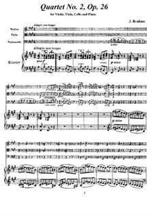 Piano Quartet No.2 in A Major, Op.26: Full score, parts by Johannes Brahms