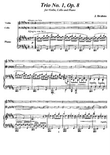 Piano Trio No.1 in B Major, Op.8: Full score, parts by Johannes Brahms