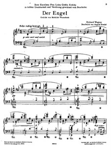 Wesendonck Songs, WWV 91: For piano by Richard Wagner