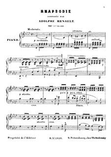 Rhapsody, Op.4: For piano by Adolf von Henselt