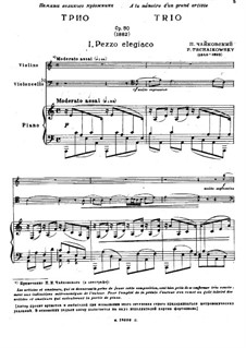 Piano Trio 'In Memory of a Great Artist', TH 117 Op.50: Full score, parts by Pyotr Tchaikovsky
