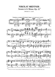Sonata for Piano in G Minor, Op.22: For a single performer by Nikolai Medtner