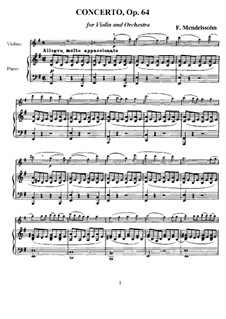 Concerto for Violin and Orchestra in E Minor, Op.64: Version for violin and piano – score, part by Felix Mendelssohn-Bartholdy