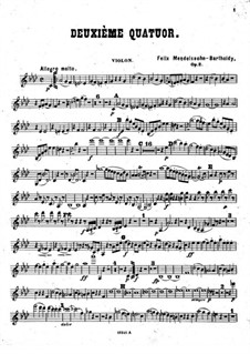 Piano Quartet No.2 in F Minor, Op.2: Violin part by Felix Mendelssohn-Bartholdy