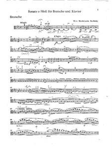 Sonata for Viola and Piano in C Minor: Viola part by Felix Mendelssohn-Bartholdy