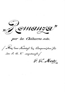 Romance in A Minor: For guitar by Johann Kaspar Mertz