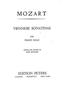 Six Viennese Sonatinas for Piano: Complete set by Wolfgang Amadeus Mozart