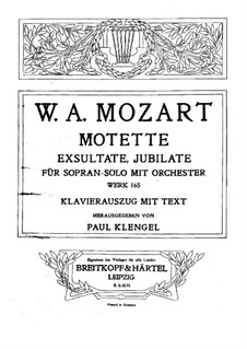 Exsultate, jubilate, K.165: Piano-vocal score by Wolfgang Amadeus Mozart