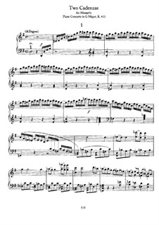 Concerto for Piano and Orchestra No.17 in G Major, K.453: Two cadenzas by Wolfgang Amadeus Mozart