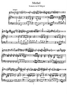Sonata for Flute and Piano in D Major: Score, solo part by Johann Gottfried Müthel