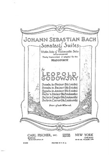 Sonata for Violin No.1 in G Minor, BWV 1001: Arrangement for piano by Johann Sebastian Bach