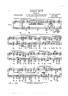 Sonata for Violin No.2 in A Minor, BWV 1003: Arrangement for piano by Johann Sebastian Bach