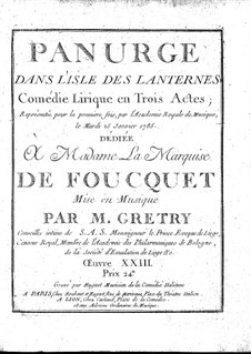 Panurge dans l'isle des lanternes: Full score by André Grétry