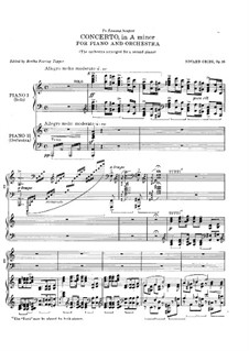 Piano Concerto in A Minor, Op.16: Version for two pianos four hands by Edvard Grieg