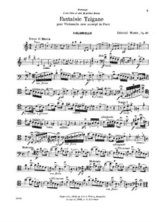 Gypsy Fantasia for Cello (or Violin) and Piano, Op.26: Cello part by Désiré Mohr