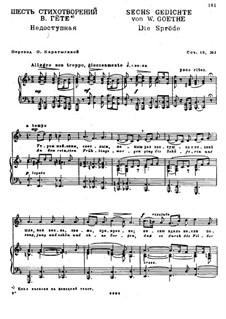 Six Poems after Goethe, Op.18: Nr.1 Die Spröde by Nikolai Medtner