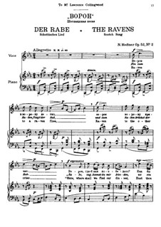 Seven Songs after Pushkin, Op.52: No.2 The Ravens (Scotch Song) by Nikolai Medtner