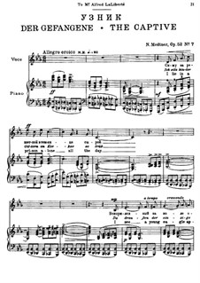 Seven Songs after Pushkin, Op.52: No.7 The Captive by Nikolai Medtner