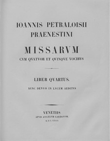 Masses: Book IV by Giovanni da Palestrina