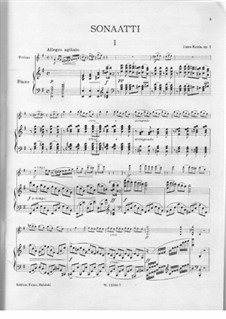 Sonata in E Minor for Violin and Piano, Op.1: Score by Toivo Kuula