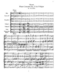 Concerto for Piano and Orchestra No.11 in F Major, K.413: Full score by Wolfgang Amadeus Mozart