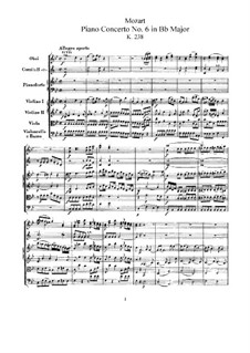Concerto for Piano and Orchestra No.6 in B Flat Major, K.238: Full score by Wolfgang Amadeus Mozart