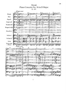 Concerto for Piano and Orchestra No.16 in D Major, K.451: Full score by Wolfgang Amadeus Mozart