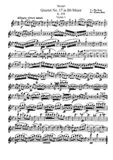 String Quartet No.17 in B Flat Major 'Hunt' , K.458: Violin I part by Wolfgang Amadeus Mozart