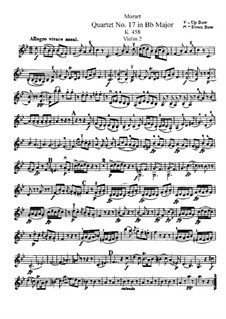 String Quartet No.17 in B Flat Major 'Hunt' , K.458: Violin II part by Wolfgang Amadeus Mozart