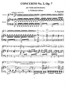 Concerto for Violin and Orchestra No.2 in B Minor, Op.7: Version for violin and piano by Niccolò Paganini