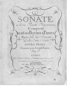 Six Sonatas for Two Flutes. No.1-5, Op.1: Six Sonatas for Two Flutes. No.1-5 by Giovanni Battista Patoni