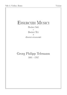 Solo No.1, TWV 41:F 4: For violin and basso continuo – violin part by Georg Philipp Telemann