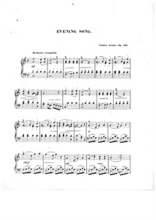 Pieces for Piano, Op.243: Evening Song by Gustav Lange