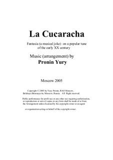La cucaracha. Fantasia (a musical joke) on a popular tune of the early XX century: Version for jazz-octet by Yury Pronin