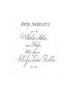 Two Sonatas for Viola and Cello (or Viola with Two Accompanying Violas), BI 324, 325 Op.3: Two Sonatas for Viola and Cello (or Viola with Two Accompanying Violas) by Alessandro Rolla
