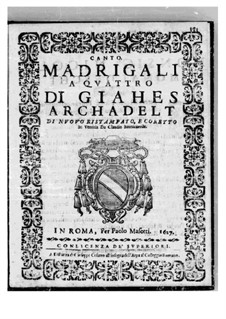 Madrigals for Four Voices: Parts by Jacques Arcadelt