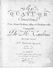Six String Quartets, Op.29: Violin I part by Giuseppe Maria Cambini