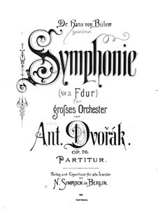 Symphony No.5 in F Major, B.54 Op.76: Full score by Antonín Dvořák