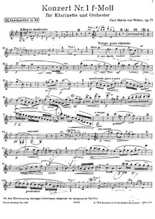 Concerto for Clarinet and Orchestra No.1, J.114 Op.73: Parts by Carl Maria von Weber