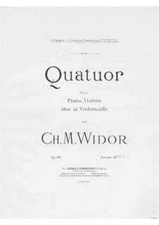 Piano Quartet in A Minor, Op.66: Full score by Charles-Marie Widor